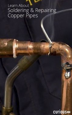 in this soldering lesson to learn the proper way to solder copper pipes and get tips and other solutions for DIY home plumbing projects. Copper Tubing, Copper Pipes, Soldering Copper Pipe, Pipe Repair, Diy Welding, Welding Table, Vintage Industrial Furniture, Industrial Lamps, Home Fix
