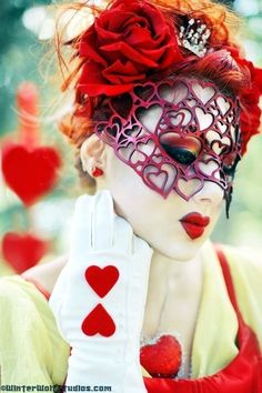 Hearts mask in red leather Valentine by TomBanwell on Etsy