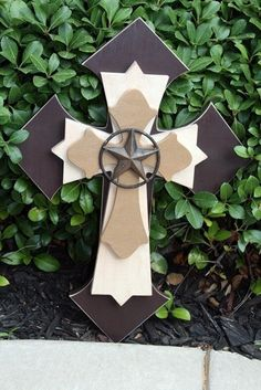 Large Rustic Western Cross with Wrought Iron Star by twistofdazzle, $45.00
