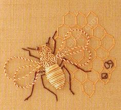 Goldwork Honeybee for my little bumblebee | #bee #inspired pinned by Western Sage and KB Honey (aka Kidd Bros)