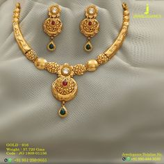 Gold 916 Premium Design Get in touch with us on Real Gold Jewelry, Gold Jewelry Simple, Gold Jewellery Design, Pearl Necklace Designs, Antique Necklace, My Collection, Gold Necklaces, Watch Accessories, Pendant Design
