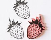 Strawberry rubber stamp mounted fruit stamp