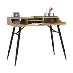 """Shop Calico Designs Woodford 45"""" Wide Modern, Secretary, Writing, Desk with Low Storage Hutch and Metal Tapered Legs - On Sale - Free Shipping Today - Overstock - 29029805"""