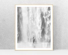 Black and white photography printable art waterfall
