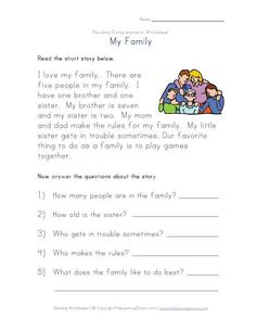 Reading And Comprehension Worksheets #2