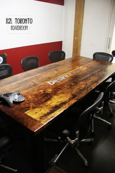 "9 ft Boardroom Table - 48"" wide - Premium epoxy/ matte polyurethane finish - Reclaimed Pine Middle Sanding - Custom Embedded Graphic - Black skirts and legs"