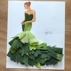 Armenian illustrator Edgar Artis playfully blends his pencil-drawn fashion illustrations with real life, mixed objects. His work to date includes food art masterpieces such as a magnificent spaghetti ball gown and a kiwi cocktail dress. Arte Fashion, Paper Fashion, 3d Fashion, Origami Fashion, Fashion Design Drawings, Fashion Sketches, Fashion Illustrations, Moda 3d, 3d Mode