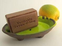 "Soap dish, ""Chocolate-lime"" series (brown clay, yellow green glaze) with Aleppo Soap. Ceramics by Studio Saskia Lauth / France - www.saskia-lauth.com"