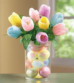 Easter Tulips in Glass Vase