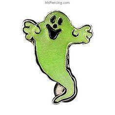 Glow-in-the-dark ghost reversed belly ring #mspiercing #piercings