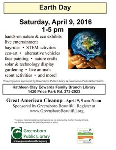 Earth Day is held on April 22 every year, and is celebrated in communities worldwide with festivals and pledges to be more aware of the environment. Our community of Greensboro will celebrate on April 9, 2016 at the Kathleen Clay Edwards Family Library. This event is filled with family fun activities where children and adults can learn more about ways to care for our planet.  #hsml #uncg #hsmluncg #haroldschiffmanmusiclibrary #motherearthmonday #earthday