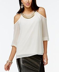 Thalia Sodi Embellished Cold-Shoulder Chiffon Blouse, Only at Macy's