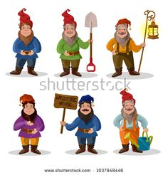Classic garden gnomes in colorful outfits. set of cartoon characters different situations