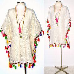 LA PLAYA Boho Fiesta Fringe Crochet Lace Up Beach Kaftan Tunic Ivory or White  #WeekendinVegas #KaftanCoverUp #SummerBeach