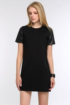 Faux Leather Dress features faux leather sleeves, front pockets and decent length. Goes well with black boots and a light cardigan Leather Sleeves, Faux Leather Dress, Everyday Items, Designer Collection, Black Boots, Designers, Pockets, Shirt Dress, Shirts