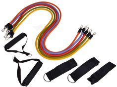 11 Pc Resistance Band Set Yoga Pilates Abs Exercise Fitness Workout Tube 5 Bands