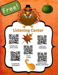 Free Thanksgiving Instant Listening Center -QR Codes-Great for Centers! Kindergarten Listening Center, Listening Station, Listening Centers, Reading Centers, Teaching Reading, Learning, Listen To Reading, First Grade Reading, Library Lessons