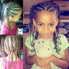 Mixed hair braids, little girl hair style