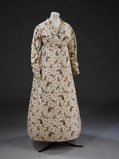 Gown    Place of origin:  England, Britain (made)    Date:  1795-1799 (made)    Artist/Maker:  Unknown (production)    Materials and Techniques:  Block printed cotton    Museum number:  T.355-1980    Gallery location:  Fashion, room 40