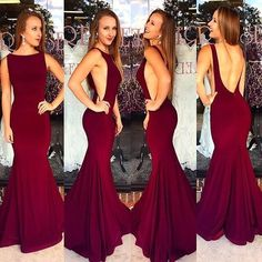 Backless Mermaid Prom Dress,Burgundy Prom Dress,Custom Made Evening Dress,17290