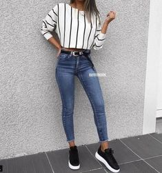 Blue Jeans und Sneakers Ideen für den Herbst Hier sind einige der besten Herbst… Blue Jeans and Sneakers Ideas for Autumn Here are some of the best fall outfit ideas … – Simple Fall Outfits, Cute Summer Outfits, Spring Outfits, Casual Fall, Casual Summer, Easy School Outfits, Summer Shorts, Autumn Outfits For Teen Girls, Cute Camping Outfits