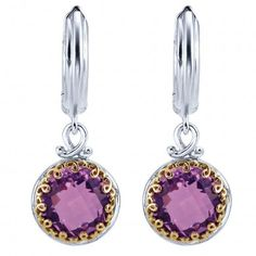 0384150c9 925 Silver/18k Yellow Gold Amethyst Drop Earrings EG11131MYJAM 925 Silver,  Jewelry Stores,