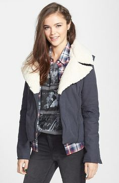 Maralyn & Me Faux Shearling Twill Moto Jacket (Juniors) available at #Nordstrom