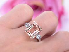 Emerald Cut Morganite Engagement Ring  Pear Aquamarine Wedding 14K White Gold 10x12mm