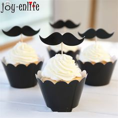 Cheap decoration for birthday, Buy Quality decorations for birthday parties directly from China cupcake wrapper Suppliers: JOY-ENLIFE 24pcs black mustache cupcake wrapper toppers decoration for birthday party supplies, paper beard cupcake wrappers