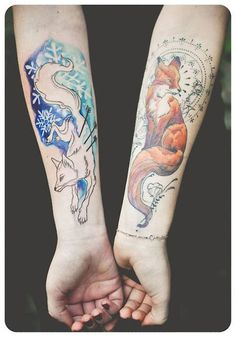 Cute Fox Tattoos on Hand For Women