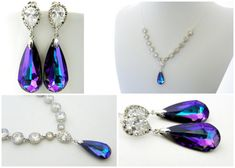 This stunning necklace and earrings set is made with high quality clear Cubic Zirconias and the highlight is a purple Swarovski Teardrop. It is
