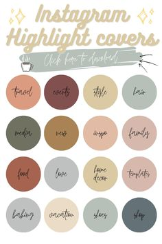 80 Earth Tones Instagram Story Highlight Icon Covers, Instagram Text Highlight, Modern Solid Colors