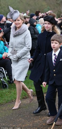 Sophie, the Countess of Wessex, with children Lady Louise Windsor and James, Viscount Seve...