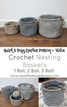 Free Crochet Pattern Rustic Farmhouse Style Basket - MJ& off the Hook Desig. Free Crochet Pattern Rustic Farmhouse Style Basket - MJ& off the Hook Designs Yarn Projects, Knitting Projects, Crochet Projects, Crochet Ideas, Free Easy Crochet Patterns, Knitting Tutorials, Lace Patterns, Knitting Patterns, Crochet Motifs