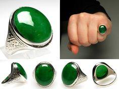 Vintage Estate Imperial Green Jadeite Jade Mens Ring Solid 14K White Gold - EraGem