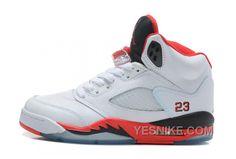 official photos 9c2a9 bc295 Nike Air Jordan 5 Unisexsko Hvid Rød Sort Jordan V, Jordan Retro V, Jordan