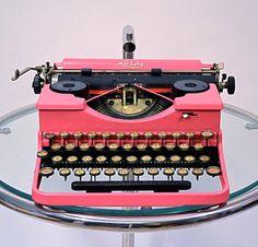 hot pink vintage typewriter ---Love it!