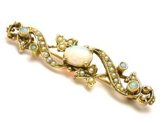 14k Yellow Gold Opal and Seed Pearls Pin Brooch  by WatchandWares