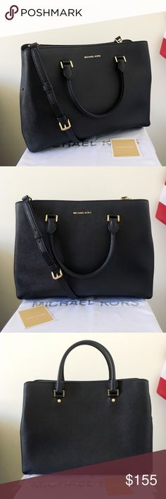 NWOT Michael Kors XL Savannah Satchel Classic purse! Black leather with gold detailing. Goes well with everything! Authentic.  The Savannah Satchel is XL size, has a long strap. New without tags.   Measurement: 15.5*11*5.5 inch  Dust bag and paper shopping paper bag are included Michael Kors Bags Satchels