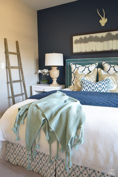 Home Sweet Home Guest bedroom ideas on a budget. Mix and match elements of varying budgets to create Bedroom Decor On A Budget, Home Decor Bedroom, Modern Bedroom, Bedroom Ideas, Master Bedroom, Trendy Bedroom, Diy Bedroom, Bedroom Curtains, Modern Bedding