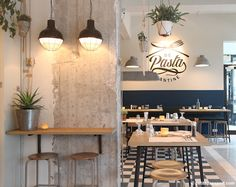 De Pasta Kantine in Rotterdam opened its doors in january and is the place to go for a quick pasta. Rotterdam, Commercial Design, Commercial Interiors, Restaurant Design, Restaurant Bar, Bar Interior, Interior Design, Menu Vintage, Coin Bar