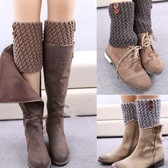 Women's Fashion Designer Buttons Leggings Autumn Winter Short Boot Hollow Ma … - Everything About Knitting and more :)çorap tozluk Crochet Patterns Socks and more :) Cool trick - good gift for some friends =D Global Online Shopping for Apparel, Phones, Crochet Leg Warmers, Crochet Boot Cuffs, Crochet Boots, Crochet Slippers, Crochet Clothes, Diy Clothes, Guêtres Au Crochet, Crochet Baby, Diy Fashion