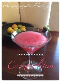 Thermomix Me A Drink Darling: Cosmopolitan Juice Drinks, Vodka Cocktails, Non Alcoholic Drinks, Cocktail Drinks, Cocktail Recipes, Martinis, Party Drinks, Fun Drinks, Triple Sec Cocktails