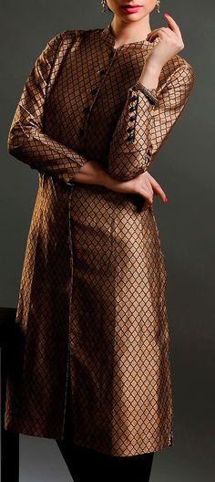 #brocade #front-open #kurta #gold #black #fashion #women #Fabindia
