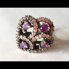 """⚡️️Flash Sale⚡️sterling Silver Amythyst Size 7.75 Beautiful elegant 925 Sterling Silver and Bronze, Amethyst Topaz Ring 7,48 Grams, Head size is 0,95"""", Ring Size Is 7.75 . Turkish style Jewelry Rings"""