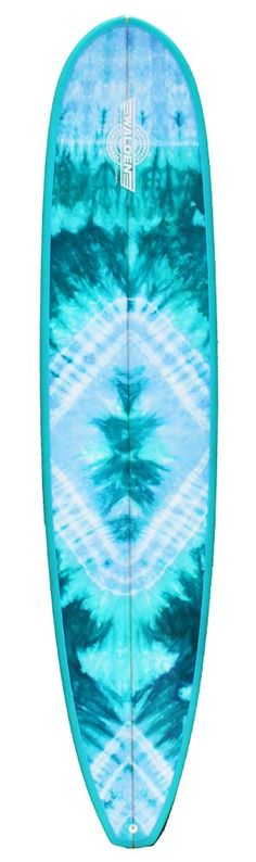 tie dyed cotton panel used as a laminate on a surfboard