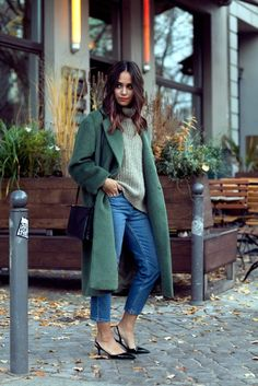 I love the idea of a longer jacket in a great color. This outfit is great and it actually looks warm enough for a New England fall.