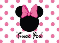 Mickey Minnie Mouse Thank You Card By Asapinvites On Etsy 10 00 Birthday Invitations