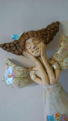 Na louce útlý Anděl Anděl- obrázek +-32 cm, štíhlý, útlý na pověšení vzadu očko z drátu na pověšení