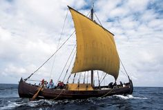 © Photo Werner Karrasch / Viking Ship Museum in Roskilde  A copy of the Viking ship Skuldelev 1 under sail in Danish waters. The ship had decks fore and aft and an open hold amidships.
